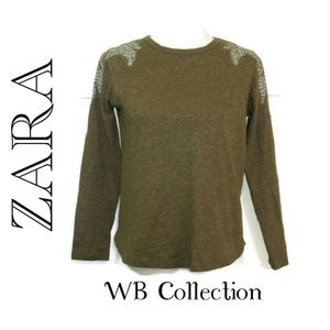 Zara WB Olive Green Beaded Shoulder Top M